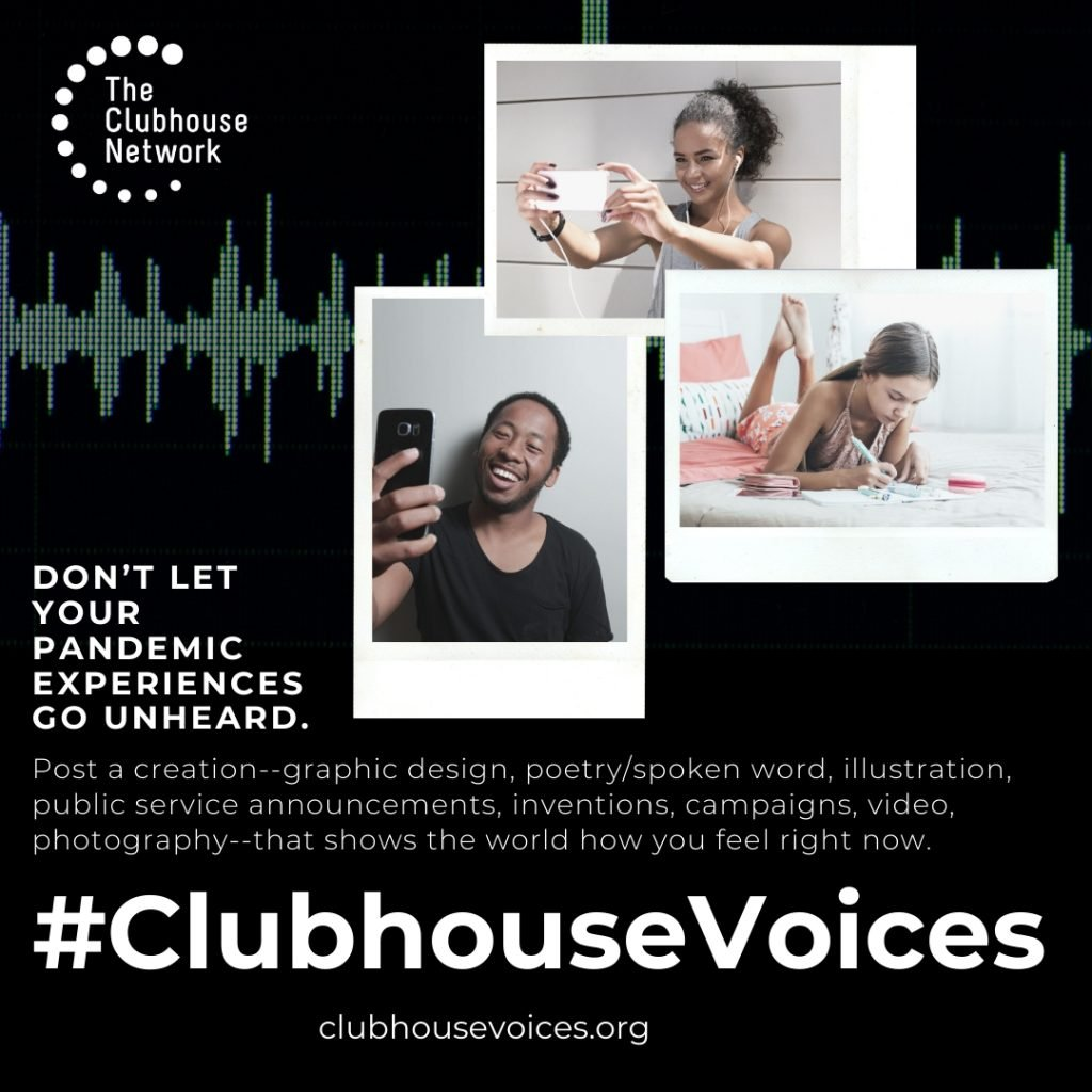 Clubhouse Voices social media flyer containing promotional text